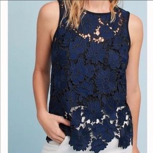 Anthro Postmark | Navy Koria Lace Shell Top Sz XS